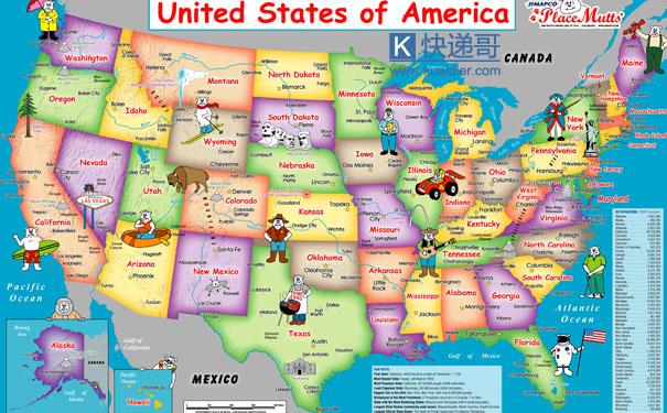 美国51州地图